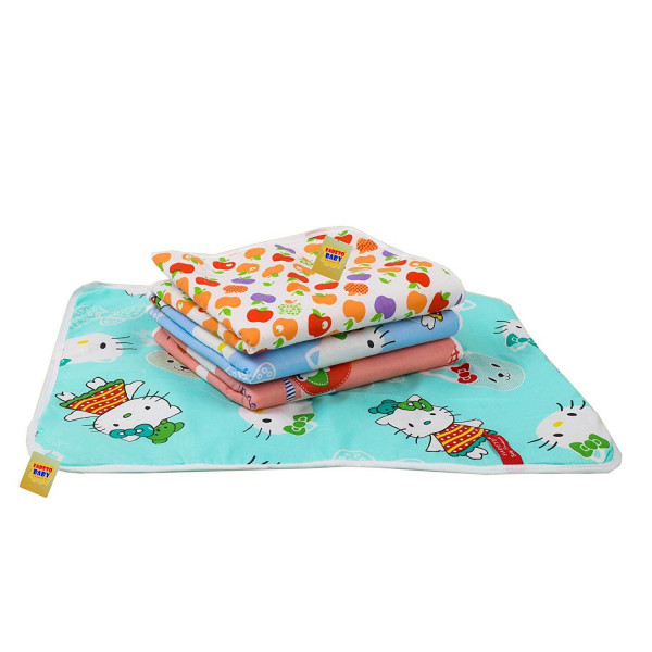Fareto Nappy Changing Mat/Sleeping mats/Water Proof Bed Protector with Foam Cushioned for New Born Baby 4 Sheets (Multicolored) (0-6 Months)