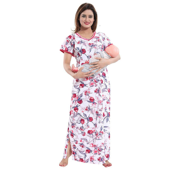 Beautiful Print with Invisible Zip Feeding/Maternity/Nursing Nighty/Nightwear/Gown