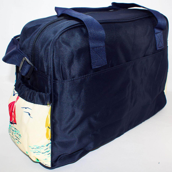 Rachna's Water Repellent Yatch Boat Print Thick Matte Travel Organizer Mother Baby Diaper Bag - 1703 - Navy Blue + Free Feeding Bottle Cover