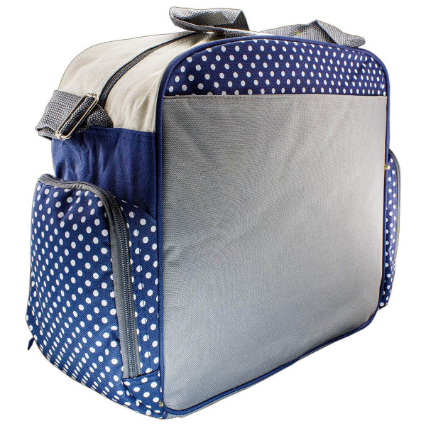 Rachna's Polka Dots Matte Fabric Multi-Purpose Travel Organizer Water Repellent Baby Diaper Bag - 2130 - Navy Blue