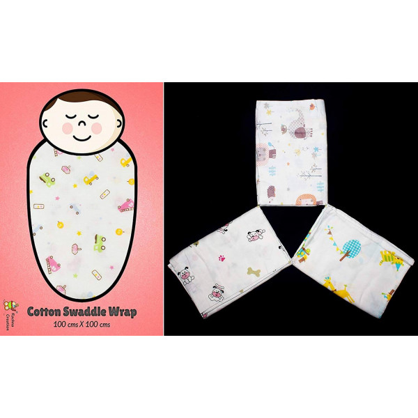 Rachna's Single Gauze Multi Print All Season Muslin Cotton Swaddle Wrapper Baby Blanket Set - 18401 - 100CMS x 100CMS - Pack of 3 (Print May Vary)