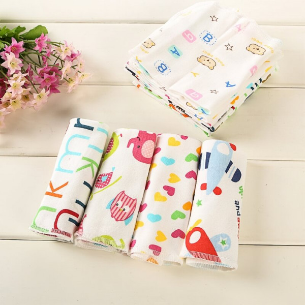 "Rachna's Single Gauze Multi Print Wash Cloth Reusable Cotton Napkin Set - 171A - Multicolor - Pack of 6 (11"" x 12"") 